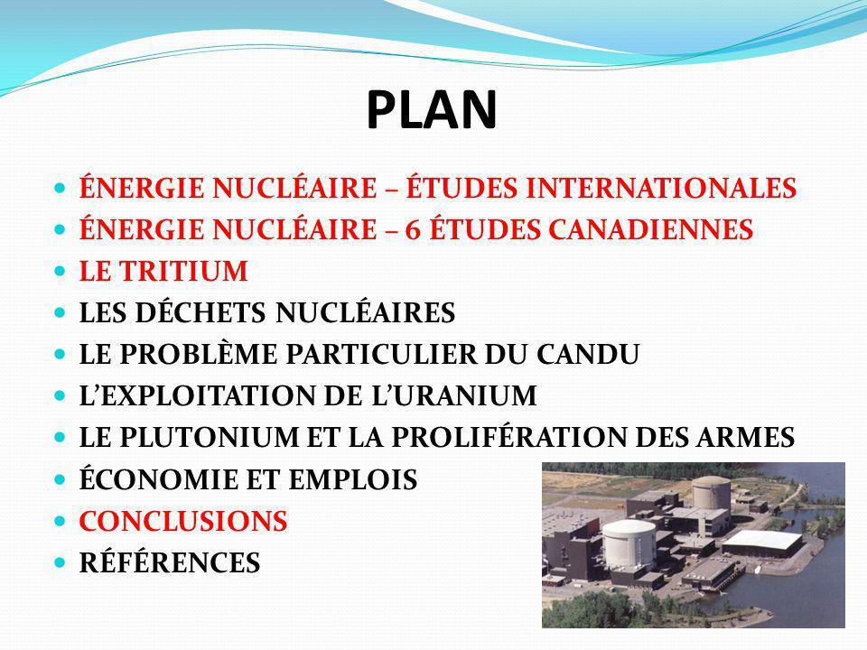 PLAN ÉNERGIE NUCLÉAIRE – ÉTUDES INTERNATIONALES ÉNERGIE NUCLÉAIRE – 6 ÉTUDES CANADIENNES LE TRITIUM LES DÉCHETS NUCLÉAIRES LE PROBLÈME PARTICULIER DU