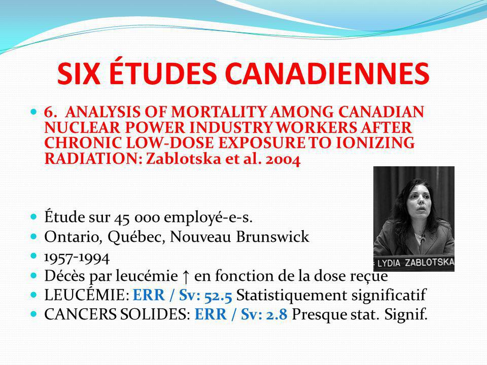 SIX ÉTUDES CANADIENNES 6. ANALYSIS OF MORTALITY AMONG CANADIAN NUCLEAR POWER INDUSTRY WORKERS AFTER CHRONIC LOW-DOSE EXPOSURE TO IONIZING RADIATION: Z