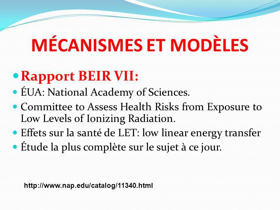 MÉCANISMES ET MODÈLES Rapport BEIR VII: ÉUA: National Academy of Sciences. Committee to Assess Health Risks from Exposure to Low Levels of Ionizing Ra