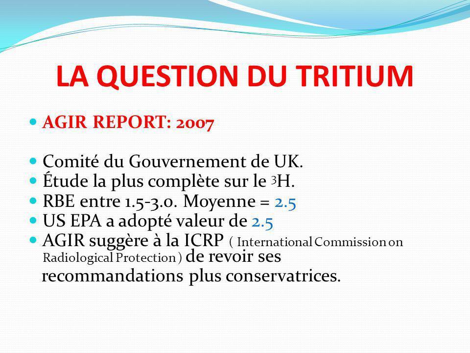 LA QUESTION DU TRITIUM AGIR REPORT: 2007 Comité du Gouvernement de UK. Étude la plus complète sur le 3 H. RBE entre 1.5-3.0. Moyenne = 2.5 US EPA a ad