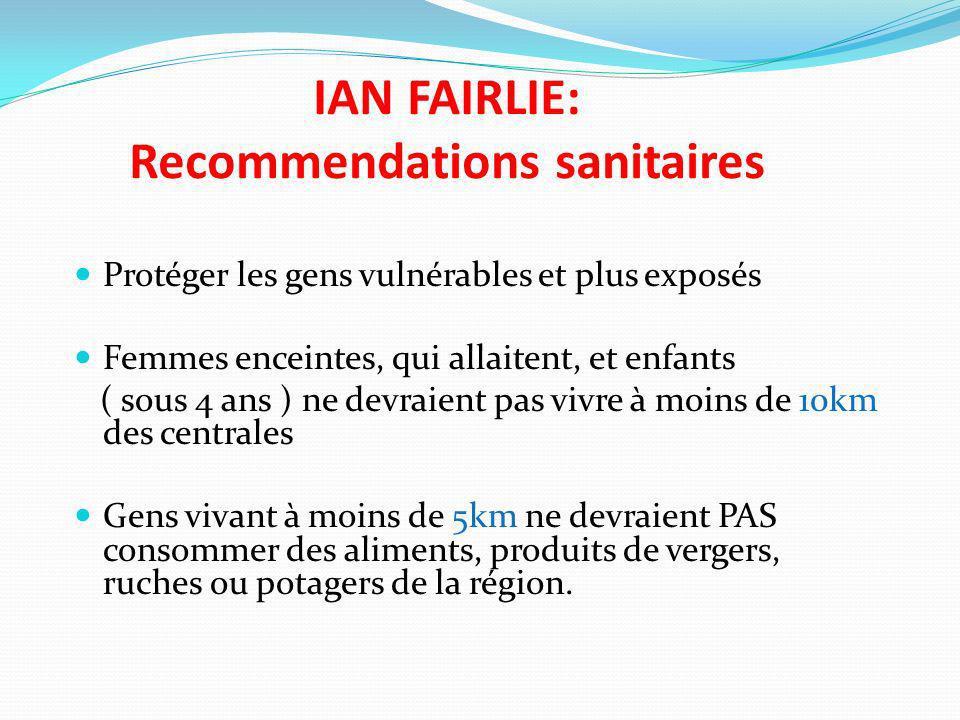 IAN FAIRLIE: Recommendations sanitaires Protéger les gens vulnérables et plus exposés Femmes enceintes, qui allaitent, et enfants ( sous 4 ans ) ne de