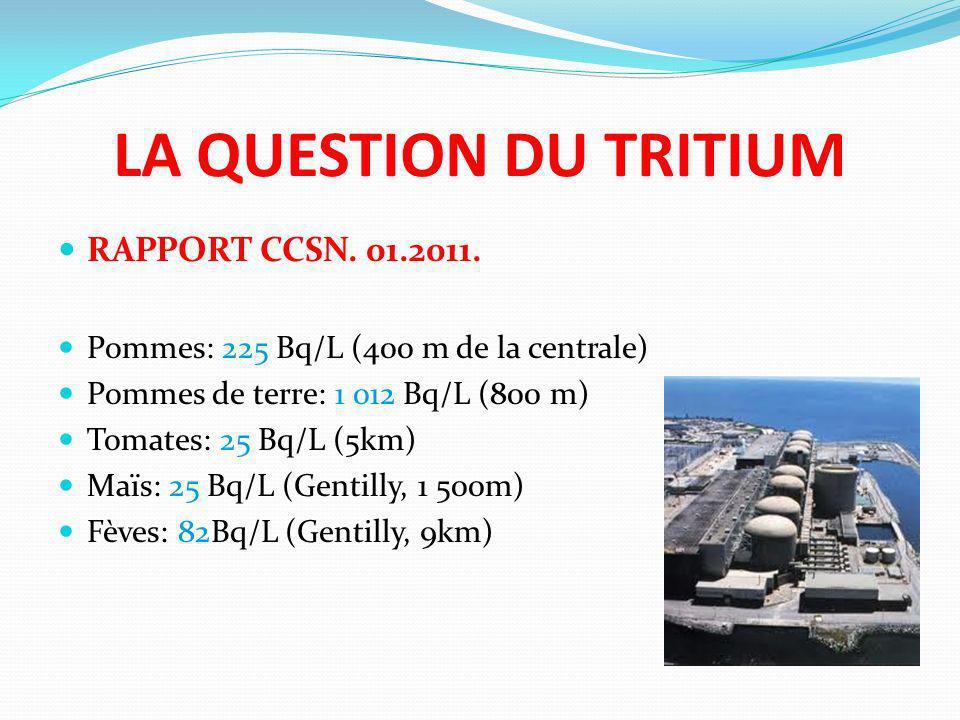 LA QUESTION DU TRITIUM RAPPORT CCSN. 01.2011. Pommes: 225 Bq/L (400 m de la centrale) Pommes de terre: 1 012 Bq/L (800 m) Tomates: 25 Bq/L (5km) Maïs: