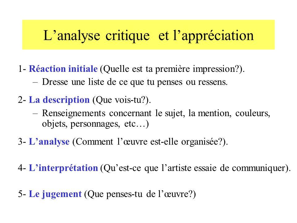 Lanalyse critique et lappréciation 1- Réaction initiale (Quelle est ta première impression?).