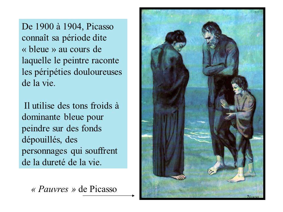 De 1900 à 1904, Picasso connaît sa période dite « bleue » au cours de laquelle le peintre raconte les péripéties douloureuses de la vie.