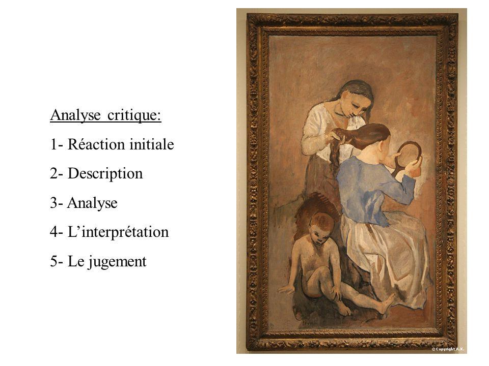 Analyse critique: 1- Réaction initiale 2- Description 3- Analyse 4- Linterprétation 5- Le jugement