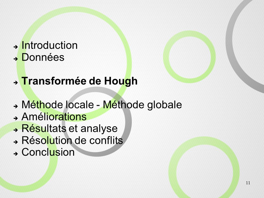 11 Introduction Données Transformée de Hough Méthode locale - Méthode globale Améliorations Résultats et analyse Résolution de conflits Conclusion
