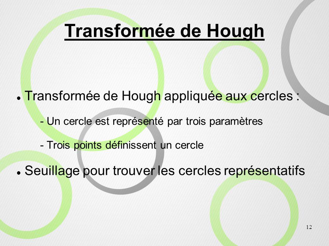 12 Transformée de Hough Transformée de Hough appliquée aux cercles : - Un cercle est représenté par trois paramètres - Trois points définissent un cer