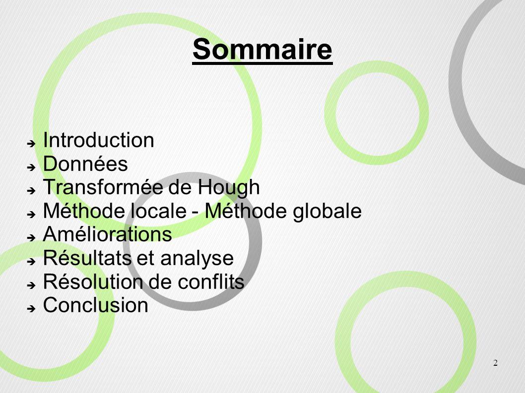 2 Introduction Données Transformée de Hough Méthode locale - Méthode globale Améliorations Résultats et analyse Résolution de conflits Conclusion Somm