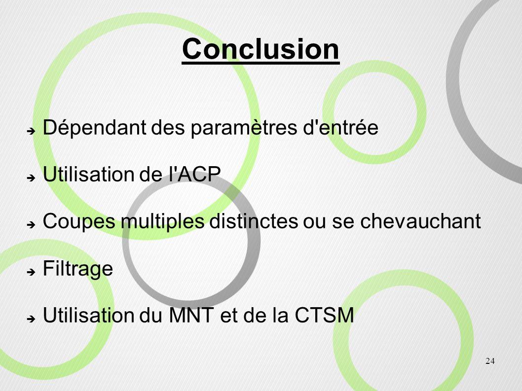 24 Conclusion Dépendant des paramètres d'entrée Utilisation de l'ACP Coupes multiples distinctes ou se chevauchant Filtrage Utilisation du MNT et de l