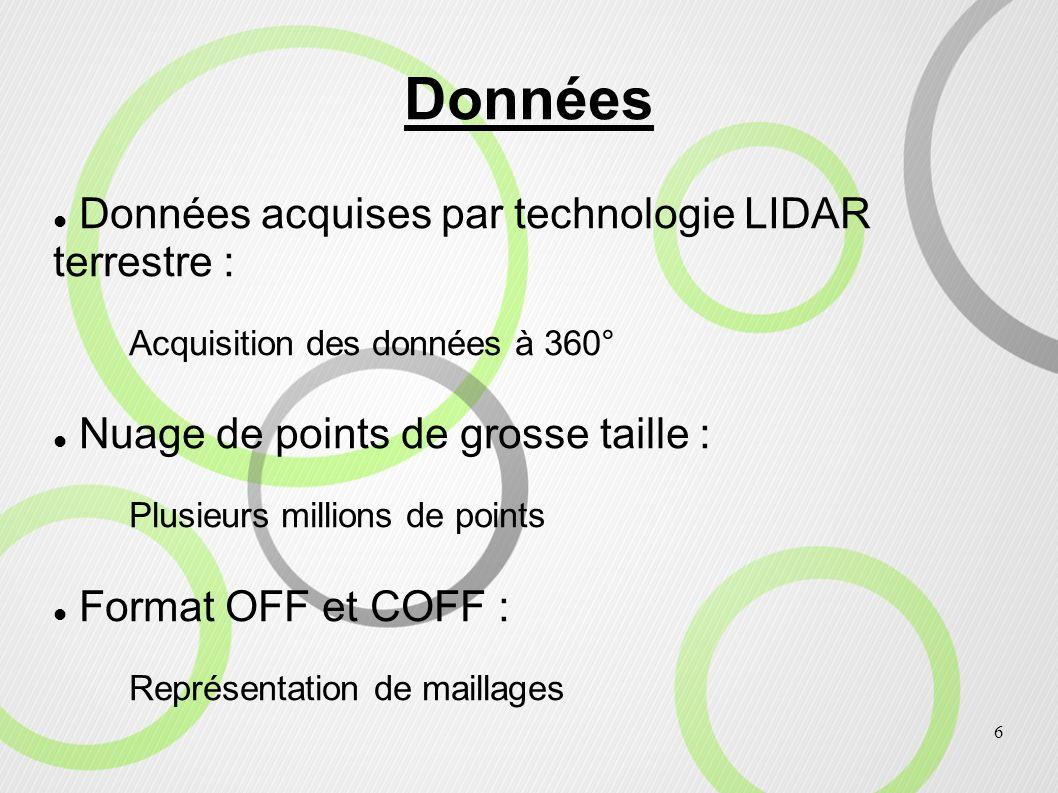 6 Données Données acquises par technologie LIDAR terrestre : Acquisition des données à 360° Nuage de points de grosse taille : Plusieurs millions de p