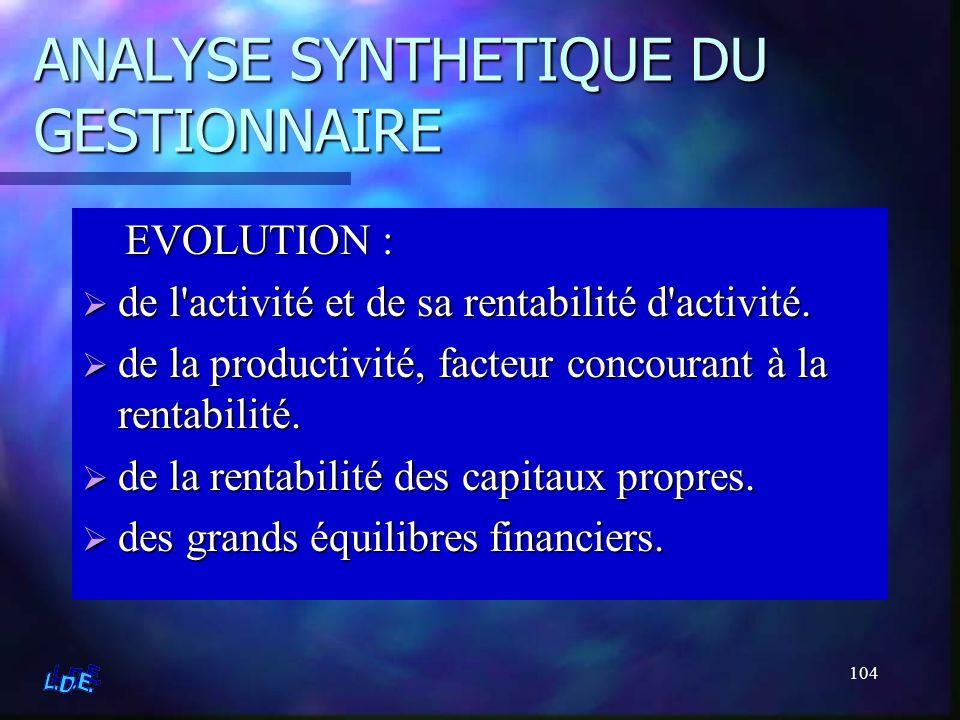 104 ANALYSE SYNTHETIQUE DU GESTIONNAIRE EVOLUTION : de l'activité et de sa rentabilité d'activité. de la productivité, facteur concourant à la rentabi