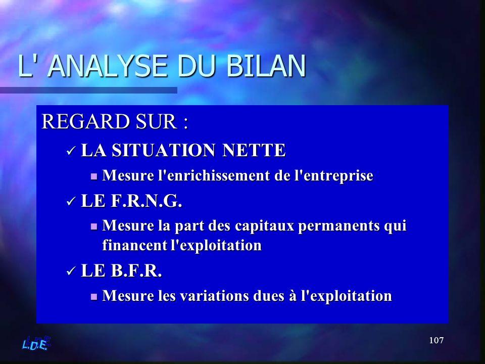 107 L' ANALYSE DU BILAN REGARD SUR : LA SITUATION NETTE Mesure l'enrichissement de l'entreprise LE F.R.N.G. Mesure la part des capitaux permanents qui