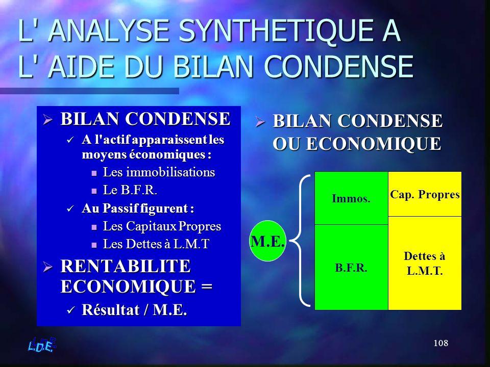 108 L' ANALYSE SYNTHETIQUE A L' AIDE DU BILAN CONDENSE BILAN CONDENSE A l'actif apparaissent les moyens économiques : Les immobilisations Le B.F.R. Au