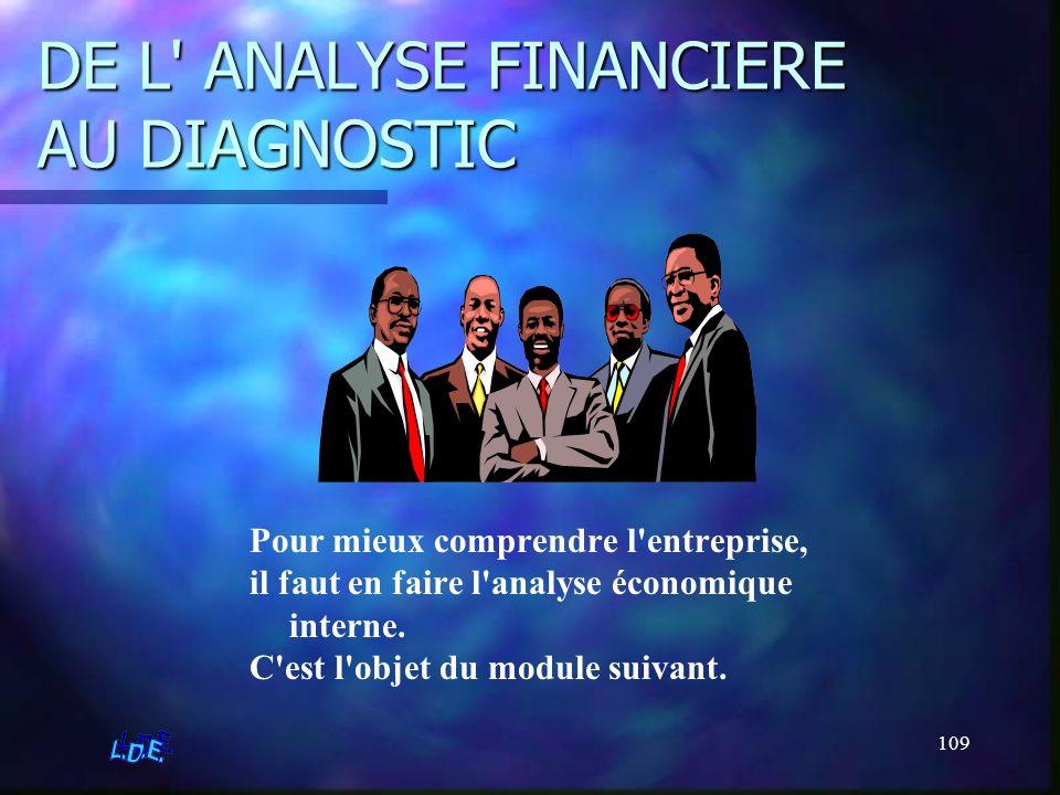 109 DE L' ANALYSE FINANCIERE AU DIAGNOSTIC Pour mieux comprendre l'entreprise, il faut en faire l'analyse économique interne. C'est l'objet du module