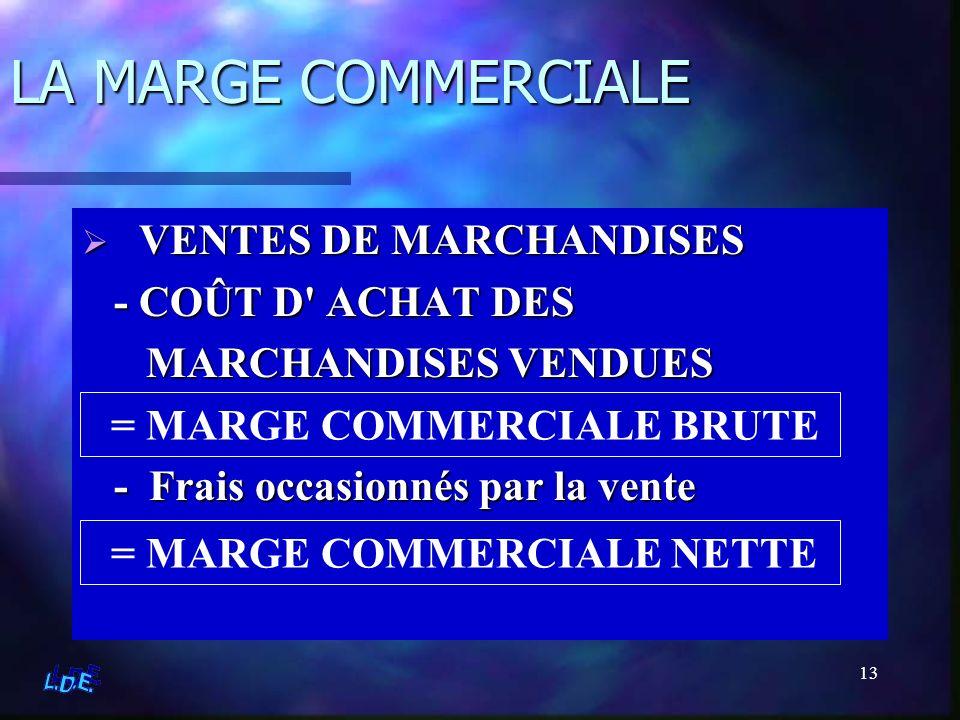 13 LA MARGE COMMERCIALE V VENTES DE MARCHANDISES - COÛT D' ACHAT DES MARCHANDISES VENDUES - Frais occasionnés par la vente = MARGE COMMERCIALE BRUTE =