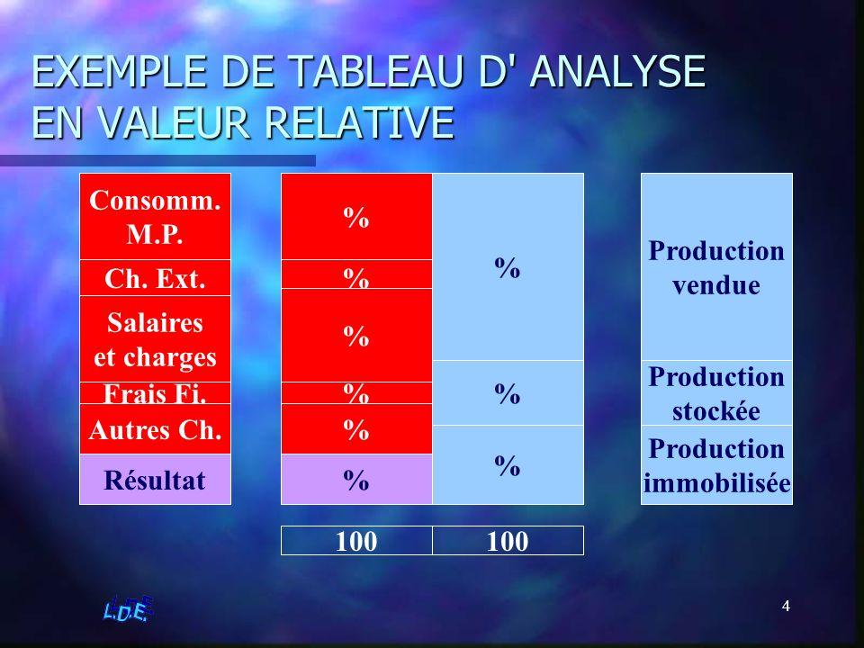 4 EXEMPLE DE TABLEAU D' ANALYSE EN VALEUR RELATIVE % % % % % % % % Résultat 100 Production vendue Production stockée Production immobilisée Consomm. M