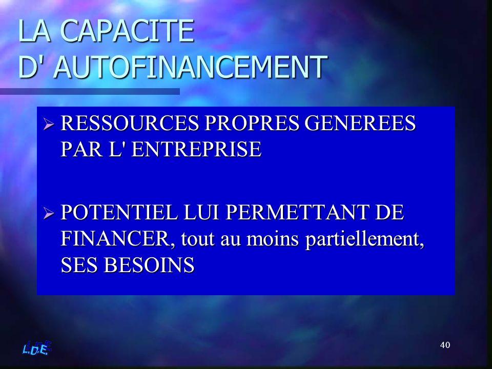 40 LA CAPACITE D' AUTOFINANCEMENT RESSOURCES PROPRES GENEREES PAR L' ENTREPRISE POTENTIEL LUI PERMETTANT DE FINANCER, tout au moins partiellement, SES