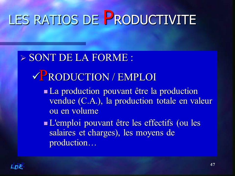 47 LES RATIOS DE P RODUCTIVITE SONT DE LA FORME : PRODUCTION / EMPLOI La production pouvant être la production vendue (C.A.), la production totale en