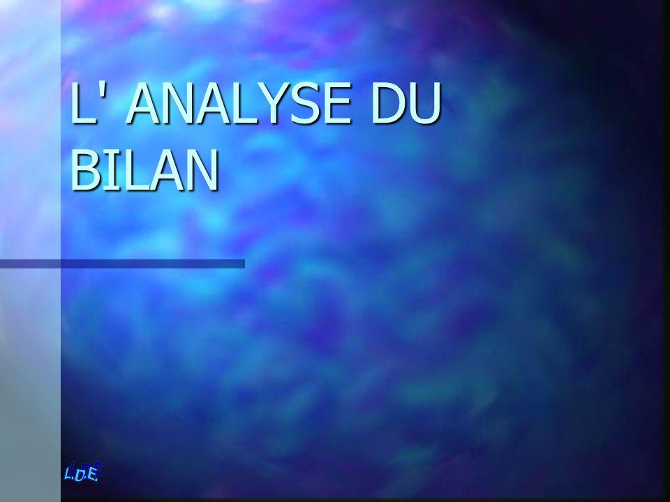 L' ANALYSE DU BILAN