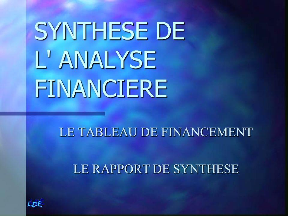 SYNTHESE DE L' ANALYSE FINANCIERE LE TABLEAU DE FINANCEMENT LE RAPPORT DE SYNTHESE