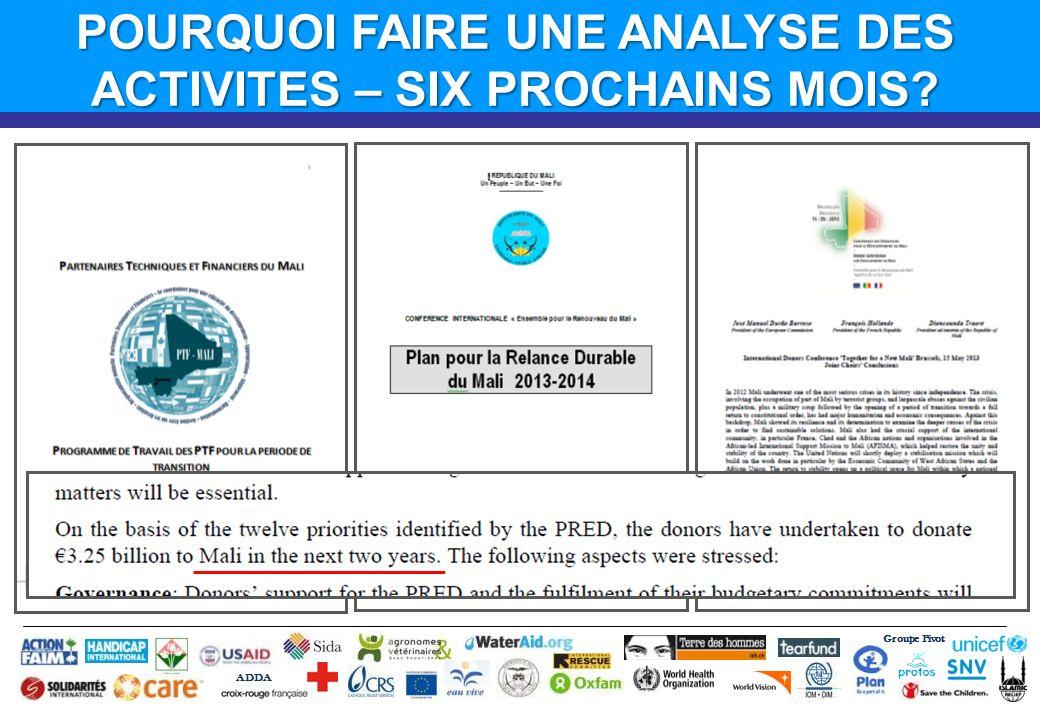 Groupe Pivot ADDA POURQUOI FAIRE UNE ANALYSE DES ACTIVITES – SIX PROCHAINS MOIS?