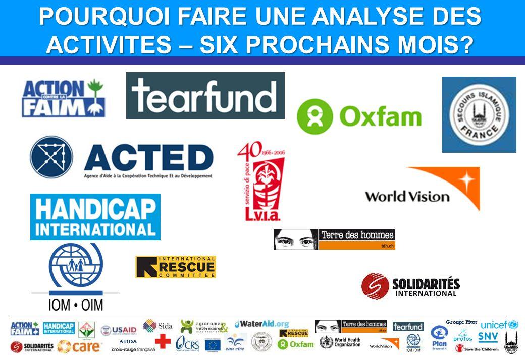 Groupe Pivot ADDA POURQUOI FAIRE UNE ANALYSE DES ACTIVITES – SIX PROCHAINS MOIS