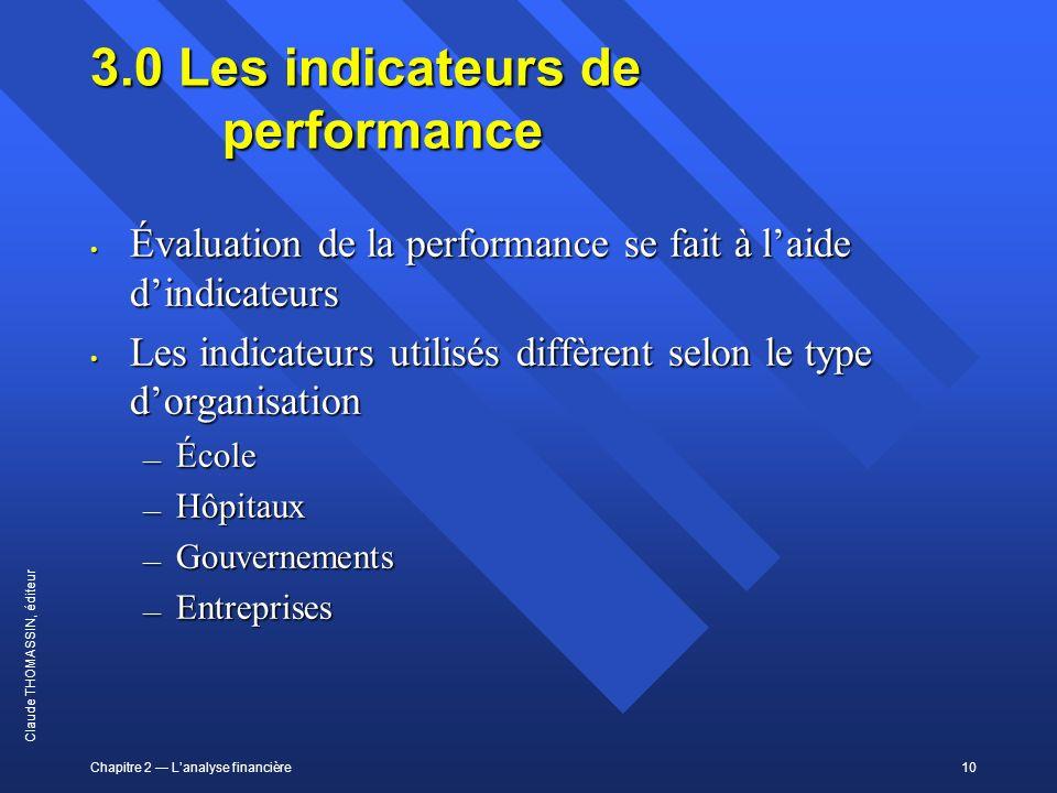 Chapitre 2 Lanalyse financière10 Claude THOMASSIN, éditeur 3.0 Les indicateurs de performance Évaluation de la performance se fait à laide dindicateur