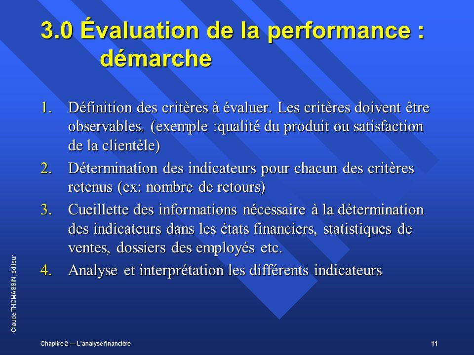 Chapitre 2 Lanalyse financière11 Claude THOMASSIN, éditeur 3.0 Évaluation de la performance : démarche 1.Définition des critères à évaluer. Les critèr