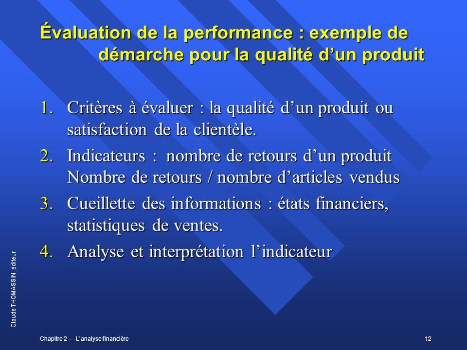 Chapitre 2 Lanalyse financière12 Claude THOMASSIN, éditeur Évaluation de la performance : exemple de démarche pour la qualité dun produit 1.Critères à
