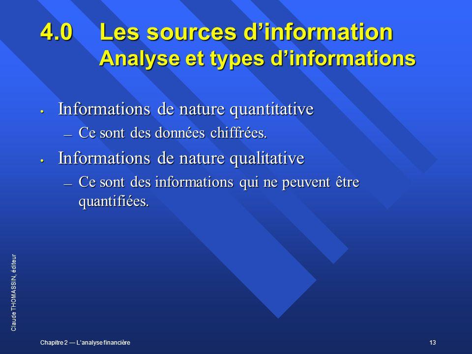 Chapitre 2 Lanalyse financière13 Claude THOMASSIN, éditeur 4.0 Les sources dinformation Analyse et types dinformations Informations de nature quantita