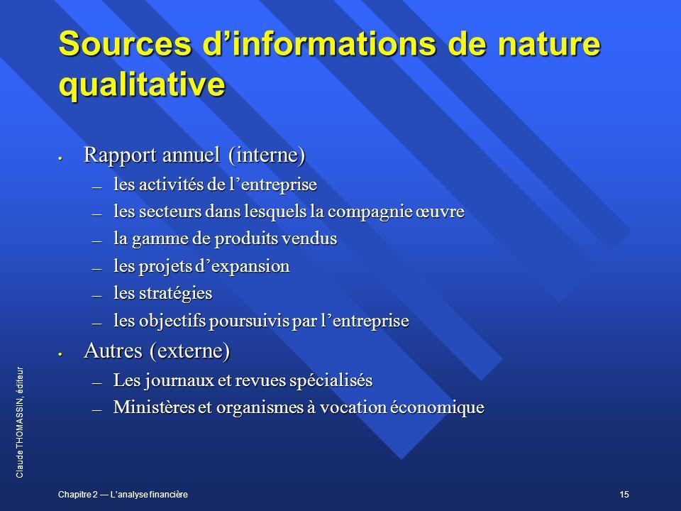 Chapitre 2 Lanalyse financière15 Claude THOMASSIN, éditeur Sources dinformations de nature qualitative Rapport annuel (interne) Rapport annuel (intern