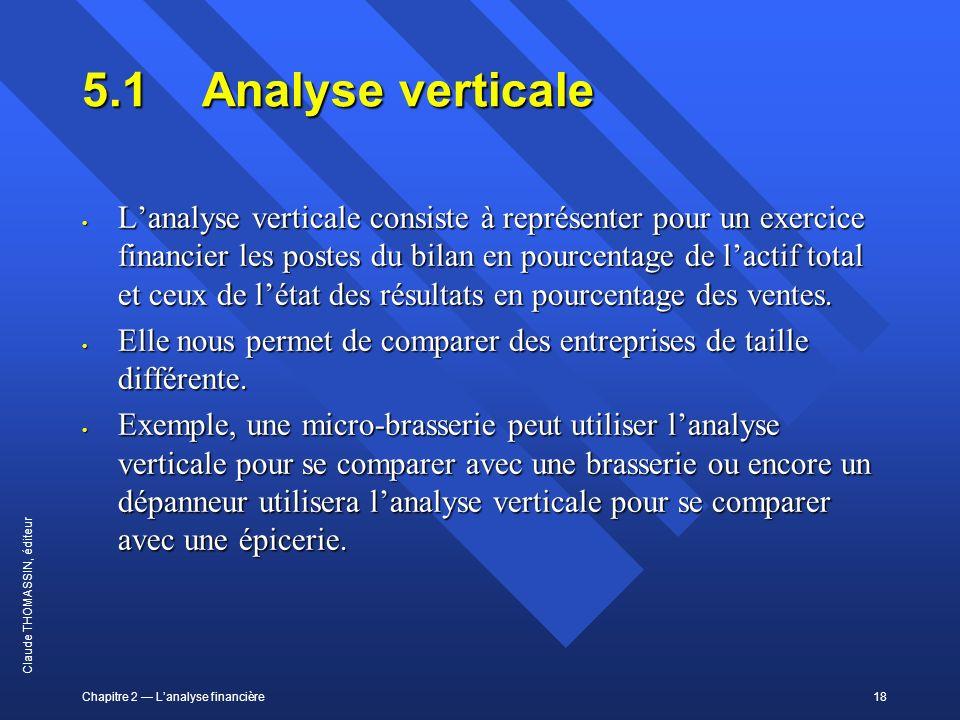 Chapitre 2 Lanalyse financière18 Claude THOMASSIN, éditeur 5.1Analyse verticale Lanalyse verticale consiste à représenter pour un exercice financier l