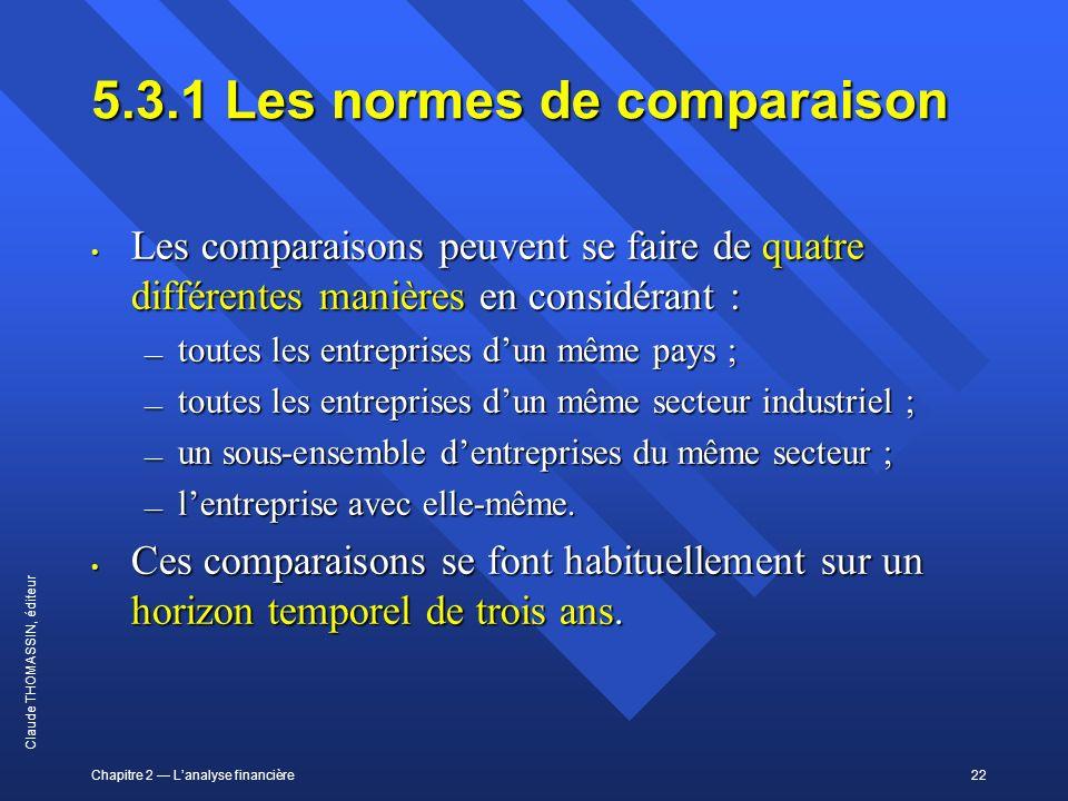 Chapitre 2 Lanalyse financière22 Claude THOMASSIN, éditeur 5.3.1Les normes de comparaison Les comparaisons peuvent se faire de quatre différentes mani