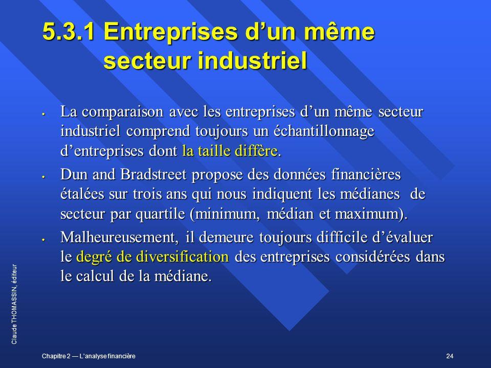 Chapitre 2 Lanalyse financière24 Claude THOMASSIN, éditeur 5.3.1Entreprises dun même secteur industriel La comparaison avec les entreprises dun même s