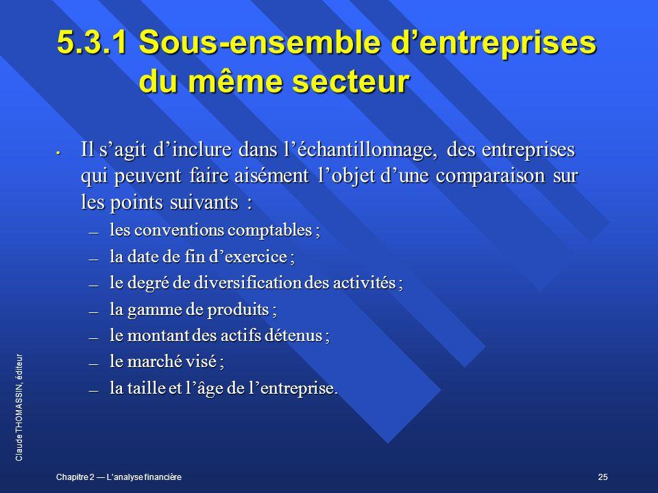 Chapitre 2 Lanalyse financière25 Claude THOMASSIN, éditeur 5.3.1Sous-ensemble dentreprises du même secteur Il sagit dinclure dans léchantillonnage, de