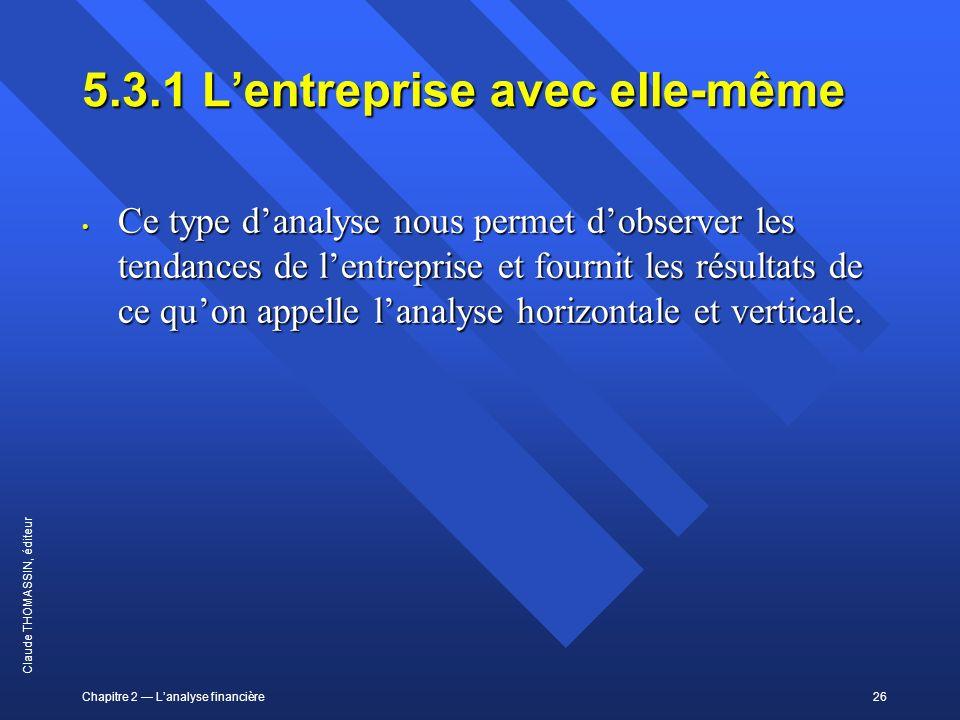 Chapitre 2 Lanalyse financière26 Claude THOMASSIN, éditeur 5.3.1Lentreprise avec elle-même Ce type danalyse nous permet dobserver les tendances de len