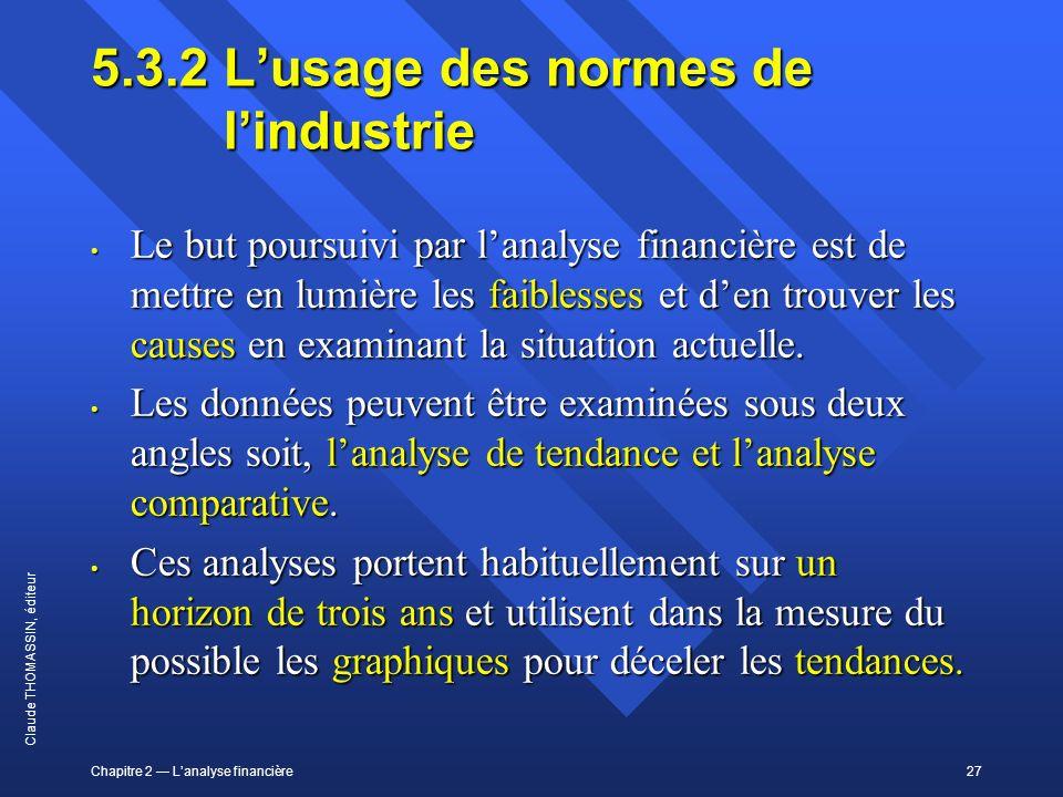 Chapitre 2 Lanalyse financière27 Claude THOMASSIN, éditeur 5.3.2Lusage des normes de lindustrie Le but poursuivi par lanalyse financière est de mettre