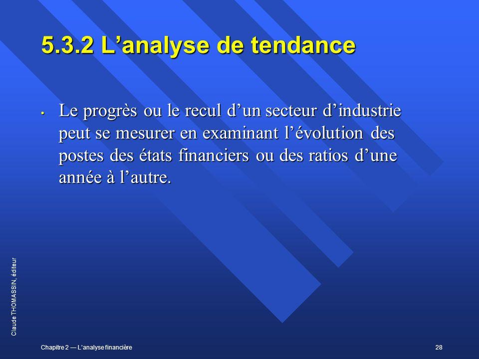 Chapitre 2 Lanalyse financière28 Claude THOMASSIN, éditeur 5.3.2Lanalyse de tendance Le progrès ou le recul dun secteur dindustrie peut se mesurer en