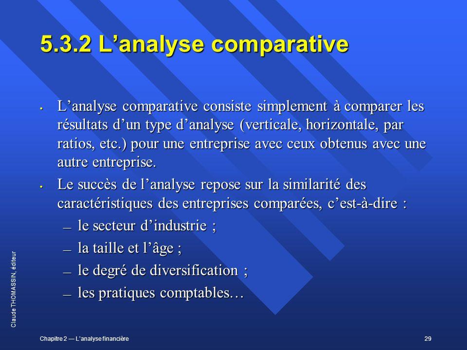Chapitre 2 Lanalyse financière29 Claude THOMASSIN, éditeur 5.3.2Lanalyse comparative Lanalyse comparative consiste simplement à comparer les résultats