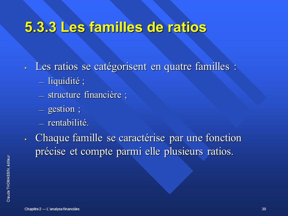 Chapitre 2 Lanalyse financière30 Claude THOMASSIN, éditeur 5.3.3Les familles de ratios Les ratios se catégorisent en quatre familles : Les ratios se c
