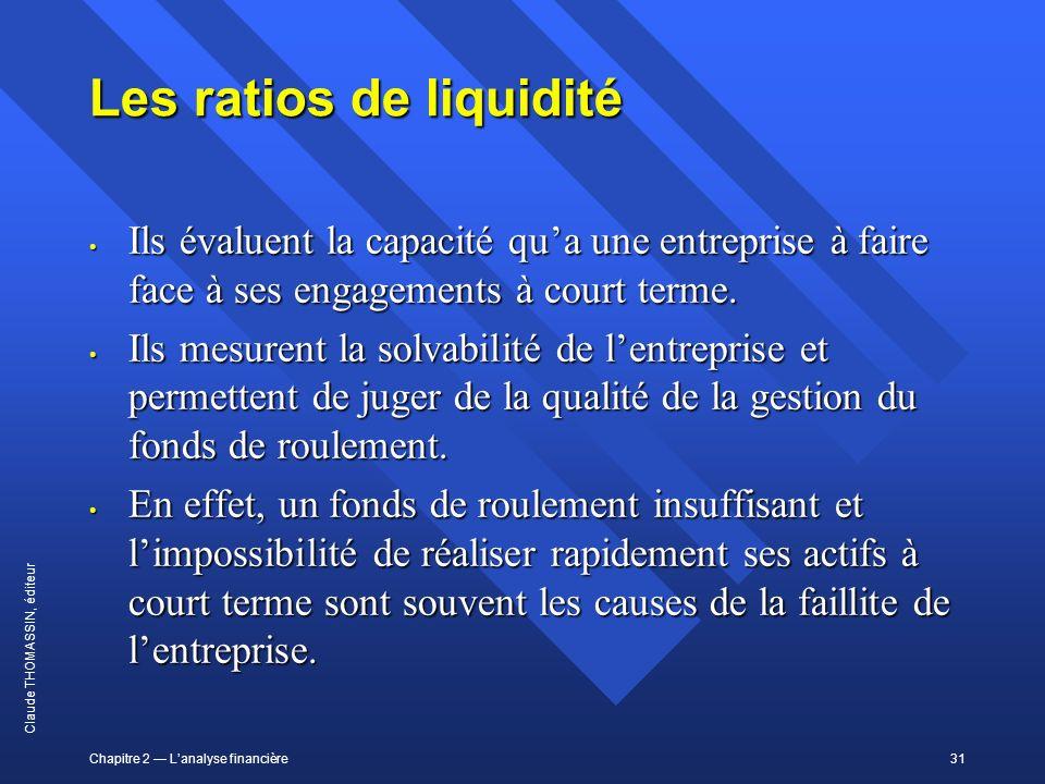 Chapitre 2 Lanalyse financière31 Claude THOMASSIN, éditeur Les ratios de liquidité Ils évaluent la capacité qua une entreprise à faire face à ses enga