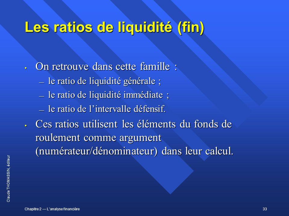 Chapitre 2 Lanalyse financière33 Claude THOMASSIN, éditeur Les ratios de liquidité (fin) On retrouve dans cette famille : On retrouve dans cette famil