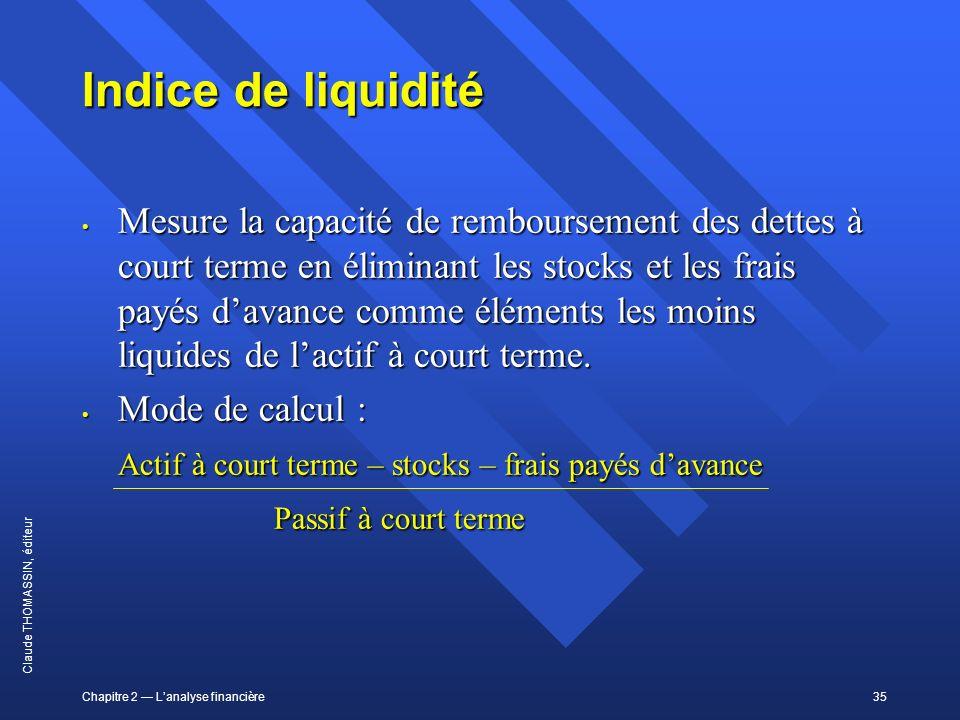 Chapitre 2 Lanalyse financière35 Claude THOMASSIN, éditeur Indice de liquidité Mesure la capacité de remboursement des dettes à court terme en élimina