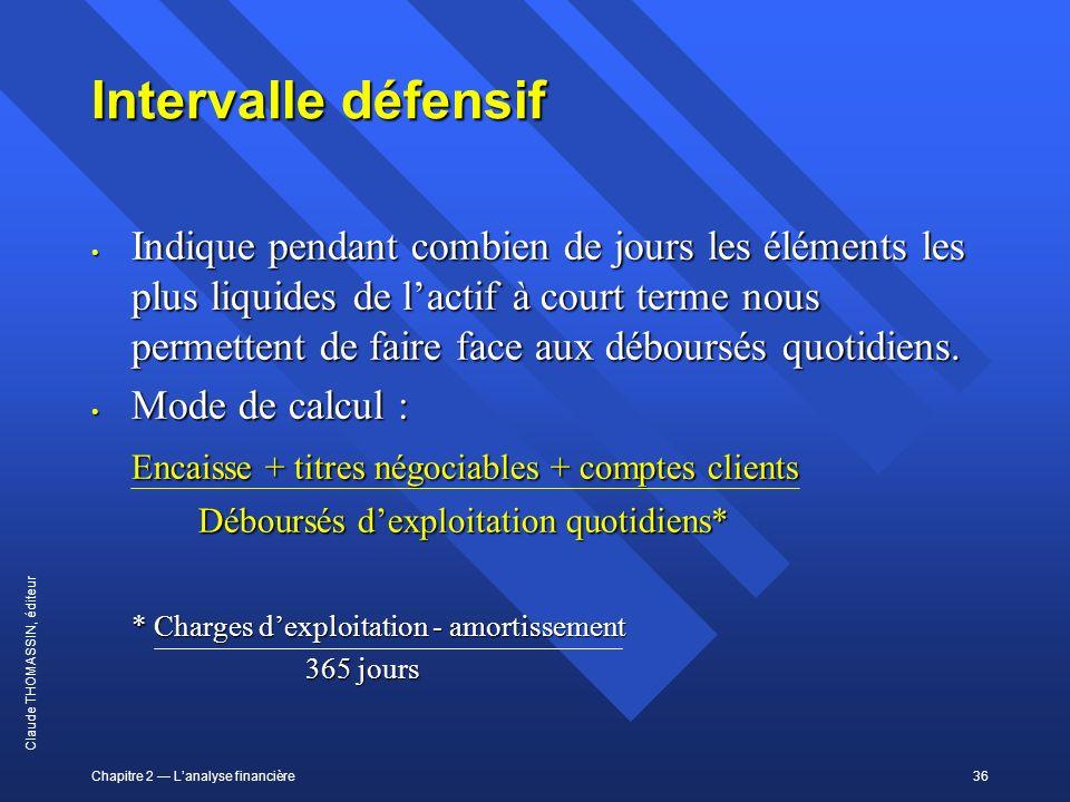 Chapitre 2 Lanalyse financière36 Claude THOMASSIN, éditeur Intervalle défensif Indique pendant combien de jours les éléments les plus liquides de lact