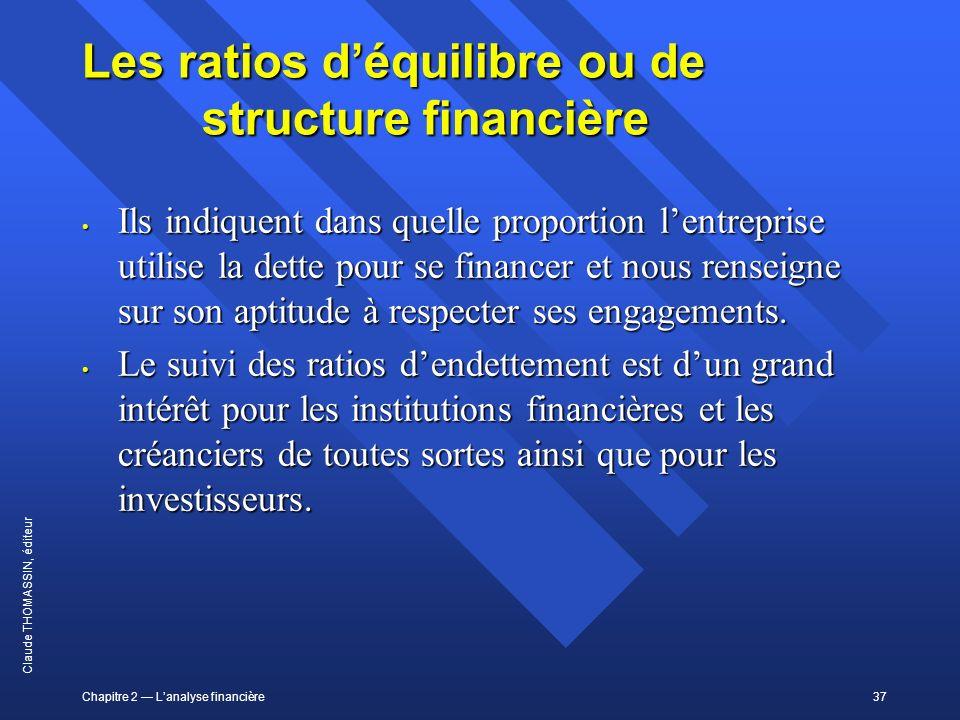 Chapitre 2 Lanalyse financière37 Claude THOMASSIN, éditeur Les ratios déquilibre ou de structure financière Ils indiquent dans quelle proportion lentr
