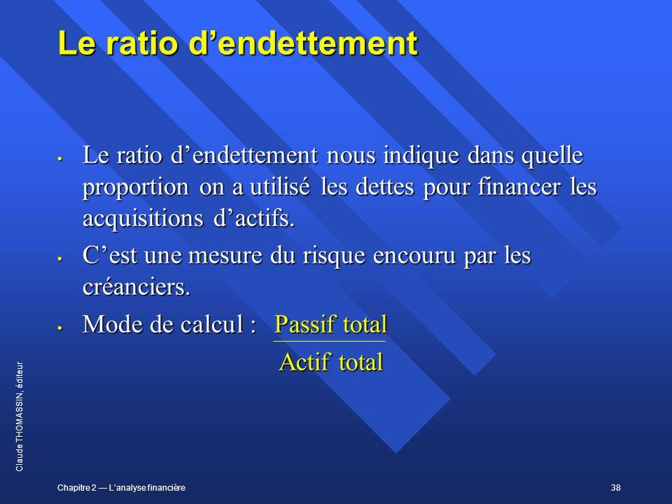 Chapitre 2 Lanalyse financière38 Claude THOMASSIN, éditeur Le ratio dendettement Le ratio dendettement nous indique dans quelle proportion on a utilis