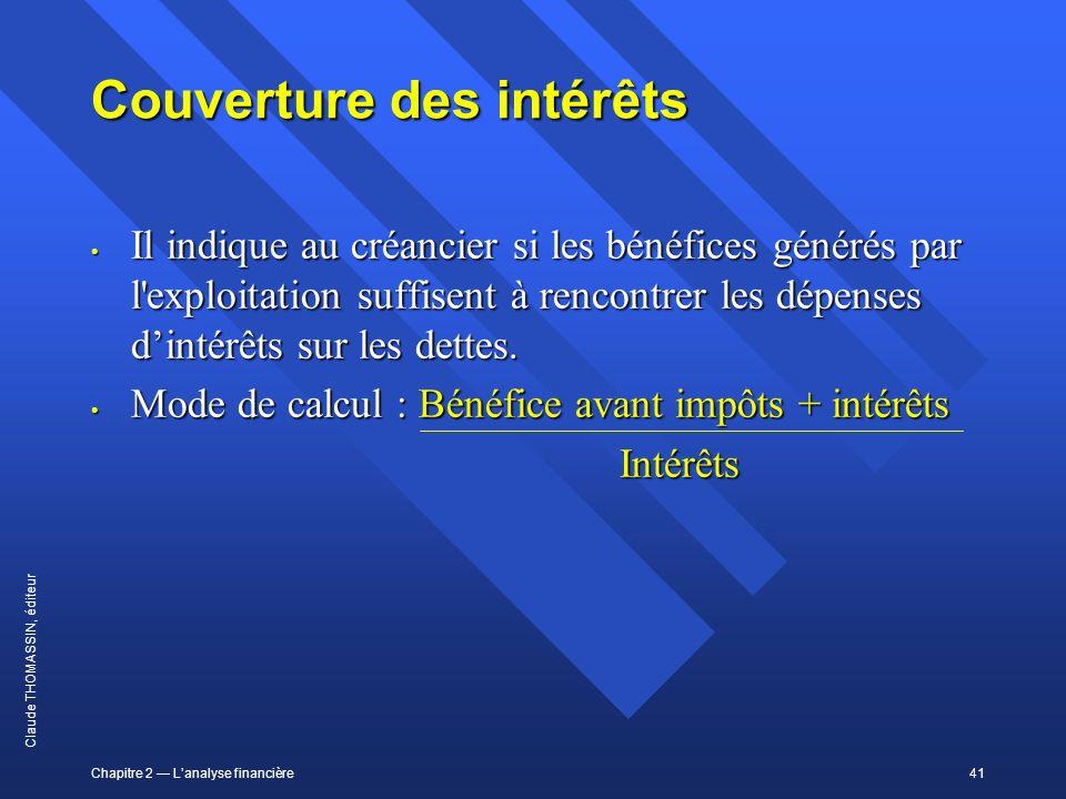 Chapitre 2 Lanalyse financière41 Claude THOMASSIN, éditeur Couverture des intérêts Il indique au créancier si les bénéfices générés par l'exploitation