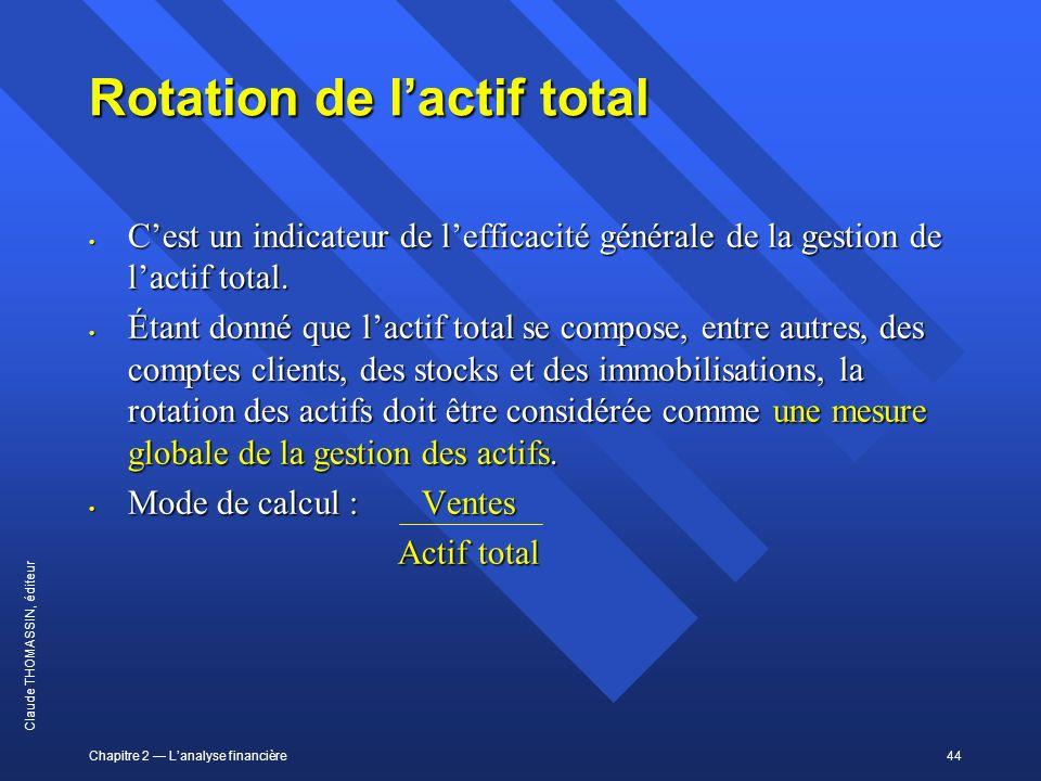 Chapitre 2 Lanalyse financière44 Claude THOMASSIN, éditeur Rotation de lactif total Cest un indicateur de lefficacité générale de la gestion de lactif