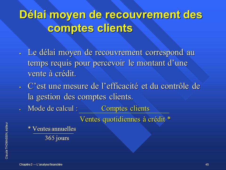 Chapitre 2 Lanalyse financière45 Claude THOMASSIN, éditeur Délai moyen de recouvrement des comptes clients Le délai moyen de recouvrement correspond a