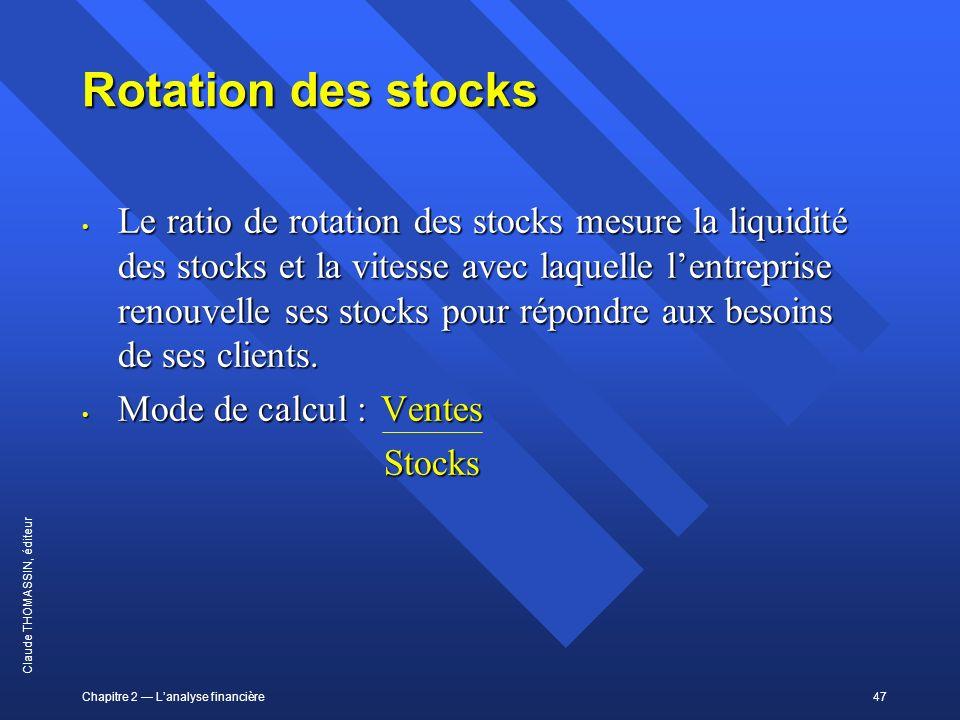 Chapitre 2 Lanalyse financière47 Claude THOMASSIN, éditeur Rotation des stocks Le ratio de rotation des stocks mesure la liquidité des stocks et la vi
